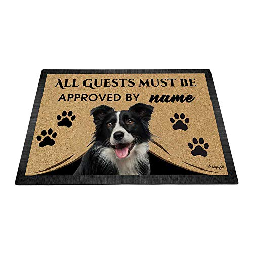 BAGEYOU All Guests Must be Approved Outdoor Doormat with My Love Dog Border Collie Welcome Floor Mat Custom Name 35.4' x 23.6'