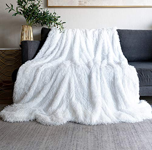 Throw Blanket for Couch 50' x 60',Soft Bedding White Faux Fur Blanket Lightweight Fluffy Blanket for Baby,Bed,Sofa Cover White Fuzzy Blanket