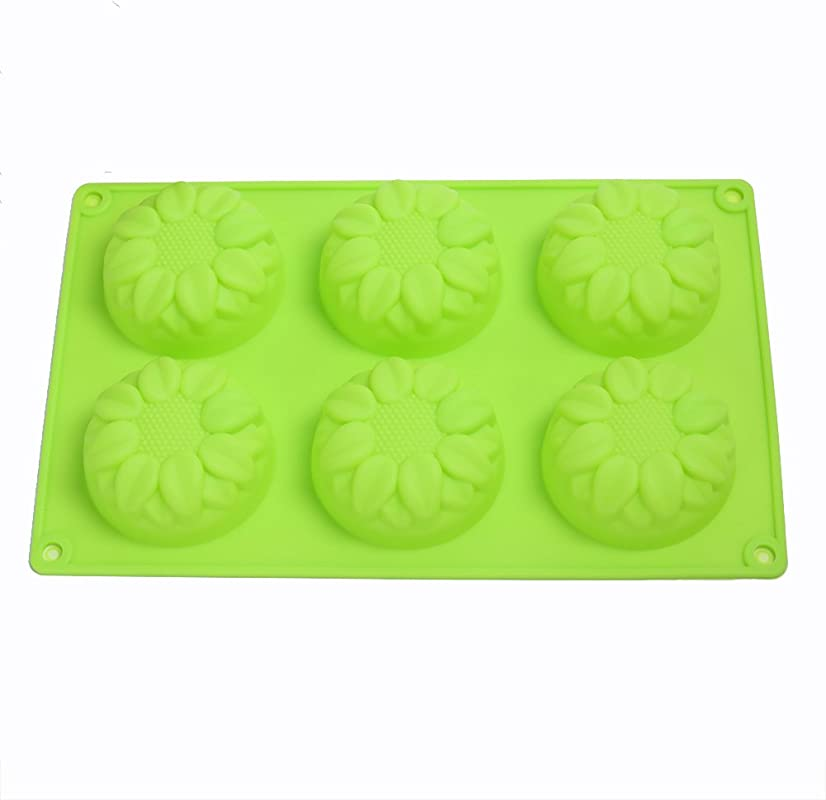KALAIEN 6 Cavity Silicone Sunflower Muffin Chocolate Jelly Pudding Dessert Molds Randomly Color