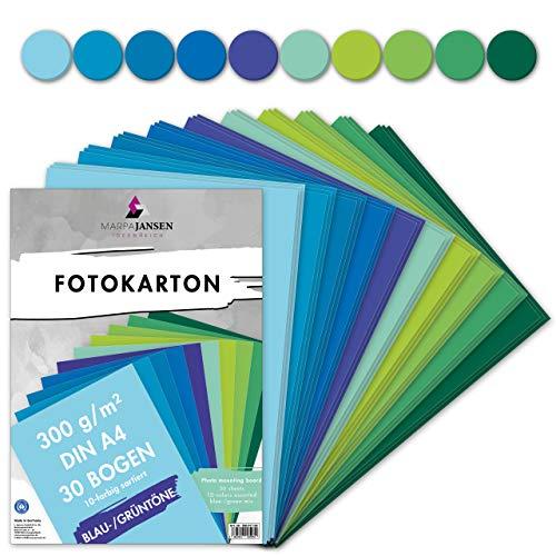 MarpaJansen Fotokarton 10 Blau/Grünton Farben, DIN A4, 30 Bogen, 300 g/m², Blauer Engel zertifiziert