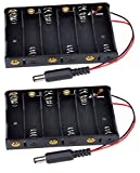 6 AA Battery Holder With 2.1mm x 5.5mm Connector 9V Output 2 Pack by Corpco