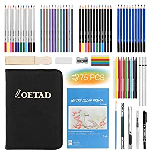 75 PCS Lápices de Colores con Lápices de Dibujo Lapices Acuarelables Carbón Set de Herramientas de Dibujo