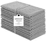 Cotton Clinic 20x20 Cloth Dinner Napkins Set of 12, 100% Cotton Farmhouse Grass Cloth Dinn...