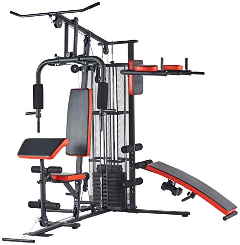 BalanceFrom RS 90 Home Gym System Workout Station with 380LB of Resistance, 145LB Weight Stack, Comes with Installation Instruction Video, Black