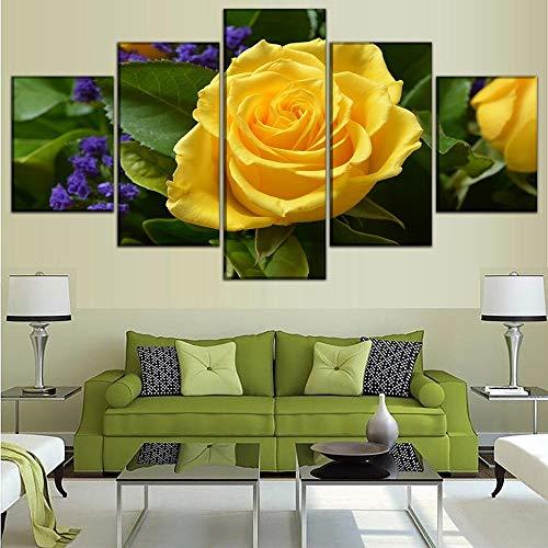 Cuadros de lienzo Marco de decoración de sala de estar modular 5 piezas Naturaleza Primavera Pinturas de rosa amarilla Arte de la pared Impresiones en HD Carteles