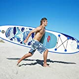 Inflatable Stand up Paddle Board Surfboard with Premium SUP Accessories & Carry Bag | Wide Stance, Bottom Fin for Paddling, Surf Control, Non-Slip Deck | Youth & Adult Standing Boat