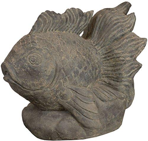 korb.outlet Wasser-speier Feuer-Fisch Steinguss/Teich-Figur 60cm / Skulptur für Haus, Garten und Brunnen