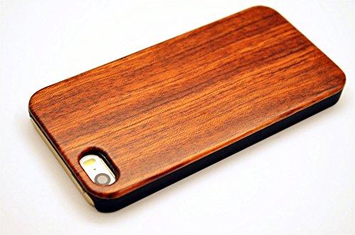 RoseFlower® iPhone SE/iPhone 5S / iPhone 5 Holzhülle - RosenholzundPC - NatürlicheHandgemachteBambus/Holz Schutzhüllemit Kostenlose Displayschutzfolie für Ihr Smartphone