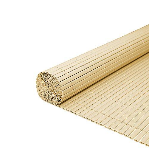 WIS PVC Sichtschutzmatte Bambus Sichtschutzzaun Balkon Zaun Sichtschutz | Für Balkon Außenbereich Swimming Pools | Farbwahl Kürzbar Größe wählbar | Wetterfest Sichtschutz | Höhe 90cm | Länge 3m