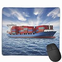 マウスパッド コンテナ船 海 雲 Mousepad ミニ 小さい おしゃれ 耐久性が良 滑り止めゴム底 表面 防水 コンピューターオフィス ゲーミング 25 x 30cm
