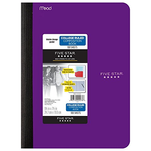 """Five Star Composition Book, Notebook, with Pocket, College Ruled Paper, 100 Sheets, 9-3/4"""" x 7-1/2"""", Color Selected For You, 1 Count (09276)"""