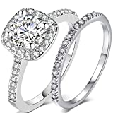 Silver Rose Gold 2 Carat Wedding Engagement Eternity Bridal Ring Set (Silver, 8)