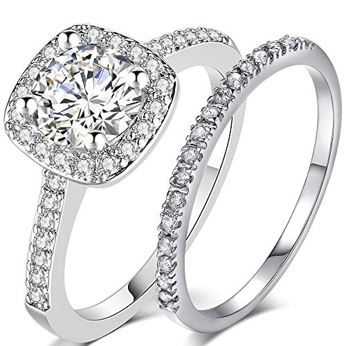 Silver Rose Gold 2 Carat Wedding Engagement Eternity Bridal Ring Set (Silver, 6)