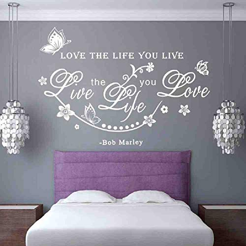 JPDP Bob Love English Sentence Wall Decals Quotes Love The Life You Live For Home Room Removable Vine Wall Sticker Decal Decoration White