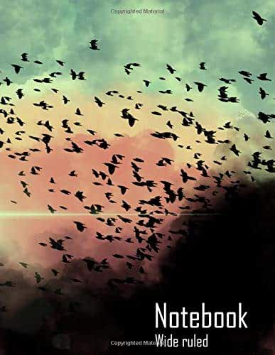 """Notebook : Birds in the clouds (Wide Ruled, Matte Softcover, 100 White Lined Pages, 8.5"""" x 11"""" (21.59 x 27.94 cm))"""