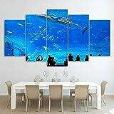 FGVBC Pintura 5 Lienzo Paneles de Arte Escuela de Peces de Acuario Azul hogar Pinturas para dormitorios Modernos