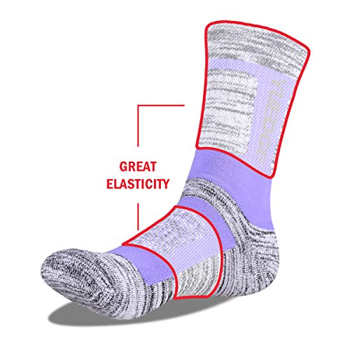 YUEDGE Women's 5 Pairs Wicking Breathable Cushion Anti Blister Casual Crew Socks Trekking Walking Athletic Socks Multi Performance 3.5-7.5