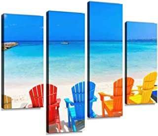 Tropical turquoise Beach with colorful outdoor adirondack chairs, Canvas Print Artwork Wall Art Pictures Framed Digital Pr...