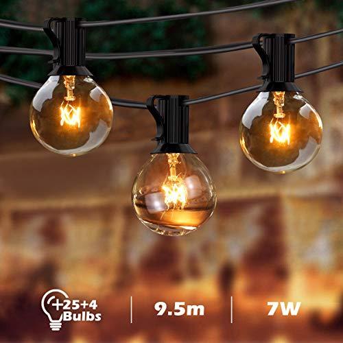 BACKTURE Guirnaldas Luminosas de Exterior, G40 Guirnalda Cadena Luces 25 Bombillas con 4 Bombilla de Repuesto, 9.5M/31FT Impermeable Guirnaldas luminosas para Fiesta, Boda, Jardín Patio Cafe