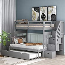 Harper & Bright Designs Stairway Twin Over Twin/Full Bunk Bed with Twin Size Trundle and Drawers, Solid Wood Bunk Bed Staircase Can be Placed on The Left or Right Side (Grey)