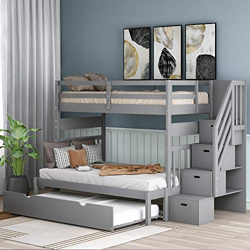 Solid Wood Twin Over Twin/Full Bunk Bed with Safety Rails and Twin Size Trundle, Convertible Bunk Bed Frame for Kids, No Box Spring Required, Gray