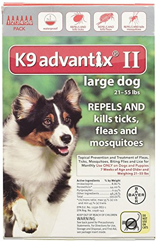 Advantix II Flea Drops,Tick Control K9 for 6-Month Dogs 21-55 Lbs (Red) 6 Doses