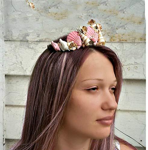 Pink Seashells Girl Crown, Mermaid hair accessories, costume Ariel