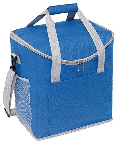Kühltasche Blau verfügt über 2 seitliche Netzeinsteckfächer Isoliertasche 32 x 23 x 37 cm verstärkte Tragegriffe Thermotasche verstell & abnehmbarer Schultergurt