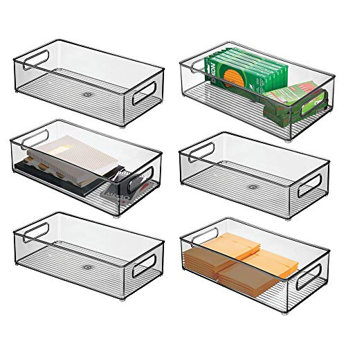 mDesign Juego de 6 organizadores de cajones para Oficina – Cajas organizadoras rectangulares para Material de Oficina – Cajas de plástico apilables con Asas para Armario y Escritorio – Gris Humo