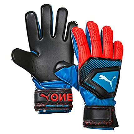 PUMA One Protect 3 JR Guantes De Portero, Unisex Adulto, Azul (Bleu Azur/Red Blast Black), 4