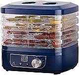 SHKUU Deshidratador Alimentos eléctrico Máquina Secadora Frutas con Temporizador y Control Temperatura, Adecuada para la producción Frutas, Verduras, Carne Res, 350 W, Bandeja 5 Capas, 95F-158F