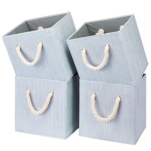 i BKGOO Juego de 4 Cubos de Tela Plegables Para Almacenamiento, Organizador de Cajas de Almacenamiento con asa de Cuerda Para el Hogar, la Guardería y más, color Bambú gris 26,5x26,5x28 cm