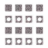 NBEADS 1 Scatola 30 Pezzi Stile Tibetano Perline in Lega d'Argento Antico Cubo Grande Charms con Intaglio Amore Parola per Collana Braccialetto Fai da Te, 8.5x8.5x8.5mm