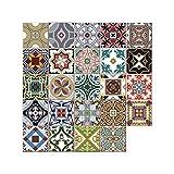 WE-WHLL 24 adhesivos para azulejos estilo marroquí para decoración de cocina, baño, 20 x 20 cm