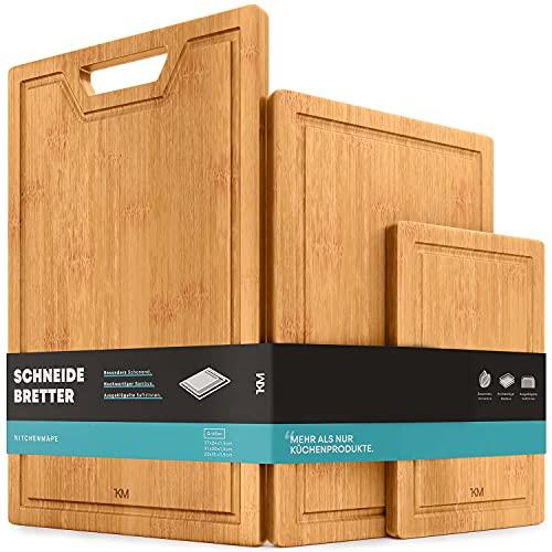 KITCHENMAPE Schneidebretter aus Bambus mit Saftrille - 37x24cm / 31x20cm / 23x15cm - 3 teiliges Schneidebrett Set - Küchenbrett extra groß - Holzbretter ideal zum Kochen -...