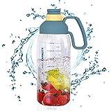 Botella Agua Deporte 1800ml Reutilizable con Pajita, Prueba de Fugas Botellas Potable Sin BPA Tritan Plastico para Sport Gimnasio Trekking Bicicleta Yoga