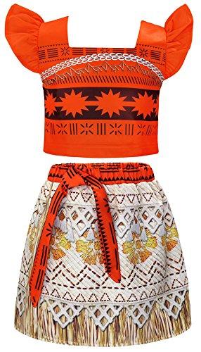 AmzBarley Moana Vaiana Disfraz Costume Niña Bebe, Princesa Disfraz Completo de Vestido Niña Traje Adventure Infantil Traje de Fantasía Clásico para Fiesta Carnaval Halloween Cosplay 3-4 Años 110