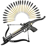 KingsArchery Crossbow Self-Cocking 80 Lbs with Adjustable Sight and Total of 27 Aluminim Arrow Bolt Set