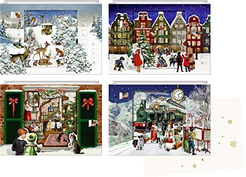 Mini-Adventskalender - Magische Weihnachtszeit: 3D-Linsenkarten zum Aufstellen - 1 Stück, Design sortiert ( keine Auswahl): 3D-Lentikular-Karten zum Aufstellen 4 Motive x 6 Ex.