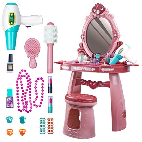 UNIH Kids Vanity Toys for 2 3 4 5 Year Old Girls Toddler Vanity Set with Mirror Chair Pretend Play Makeup Table for Little Girls