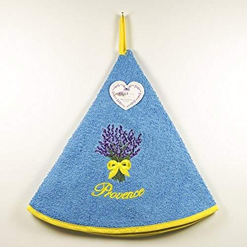 Torchon Essuie Mains Bouquet de Lavande - Rond avec Attache - Bleu - Motifs Brodés - 100% Coton - Ø 65 cm de diamètre - Cuisine ou Salle de Bain