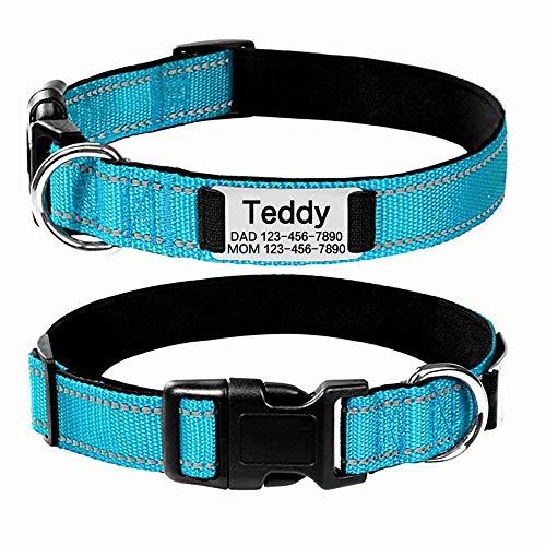 Oncpcare Collar de perro personalizado, grabado personalizado con nombre de mascota y número de teléfono, collar de identificación de perro bordado reflectante