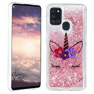 HopMore Glitter Funda para Samsung Galaxy A21S Purpurina Silicona Cover 3D Liquido Brillante Dibujos Transparente Carcasa Samsung A21S Resistente Antigolpes Case Protección - Unicornio