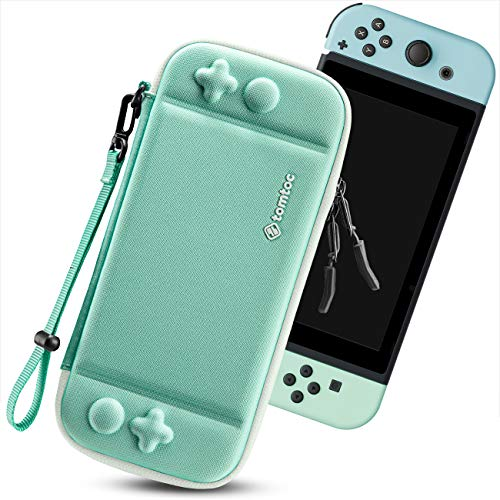 tomtoc Carry Case for Nintendo Switch, Ultra Slim Hard Shell with 10 Game Cartridges, Protective Carrying Case for Travel, with Original Patent and Military Level Protection, Green