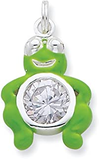 925 Sterling Silver Cubic Zirconia Cz Green Enameled Frog Pendant Charm Necklace Animal Fine Jewelry Gifts For Women For Her