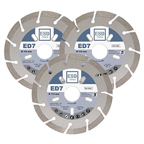 3x Diamant-Trennscheibe ED7 Ø 115 mm- 22,23 mm Bohrung Diamanttrennscheibe für Bordstein, Verbundsteine
