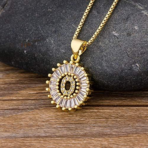 Collar Mujeres Niñas Collar De Letra Inicial 26 Letras Encanto Oro Nombre Collar Colgante Cobre Circón Joyería Rega