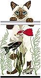 PJX Kit de bordado de punto de cruz, diseño de gato en el acuario, 40 x 50 cm, con aguja hecha a mano, 14 quilates (lienzo preimpreso)