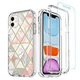 Marble iPhone 11 Case with Screen Protector, TiiParPar Fashion Girly 2 in 1 Design Clear Hard PC Bumper and Soft TPU Back for iPhone 11 (6.1 inch) 2019 Release[Separate Screen Protector] (Pink)