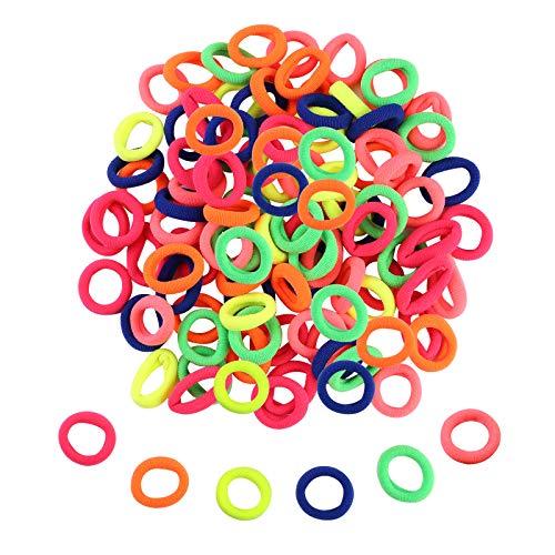 Zingso - Mini fasce per capelli per ragazze, 100 pezzi, in morbido e colorato, piccolo elastico per capelli, fasce in gomma per coda di cavallo, per bambine e ragazze